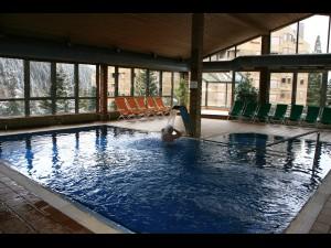 El Hotel TucBlanc te una piscina coberta climatitzada amb solarium i grans finestres amb vistes a la Vall